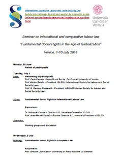 Seminar on International and Comparative Labour Law – Venice